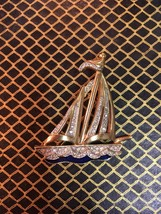 Beautiful vintage yacht boat nautical brooch - $16.00