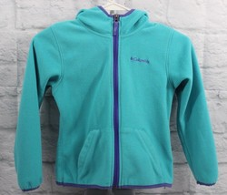 Columbia toddler fleece jacket green full zipper hoodie size XS 6X - $13.01