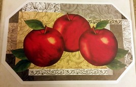 "Set of 2 Kitchen Soft Vinyl NON CLEAR Placemats (18"" x 12"") 3 APPLES by BH - $8.90"
