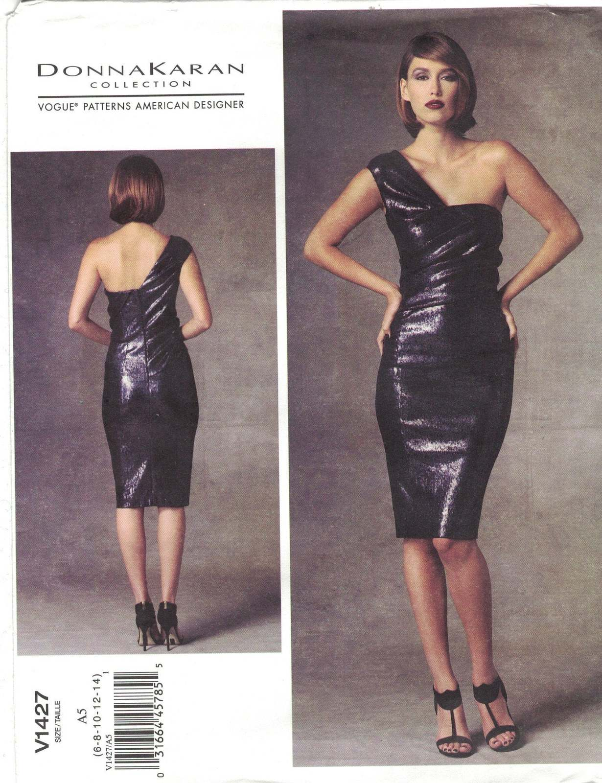 Primary image for Vogue 1427 Donna Karan One Shoulder Bodycon Cocktail Dress Pattern Uncut Choose