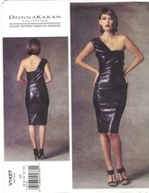 Vogue 1427 Donna Karan One Shoulder Bodycon Cocktail Dress Pattern Uncut... - $21.33