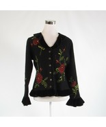 Charcoal gray black 100% wool CARSON embroidered long sleeve blazer jack... - $54.99