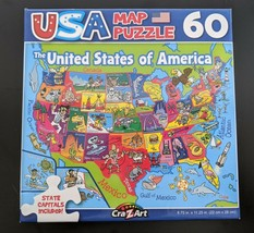 USA MAP UNITED STATES JIGSAW PUZZLE 50 STATES WITH CAPITALS 60-PCS SAME-... - $6.27