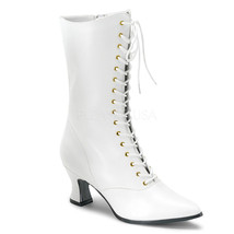 Old Fashioned Wedding Granny White Victorian Costume Mid Calf Boots VIC1... - $53.05