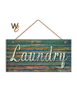 Laundry Sign, Distressed Wood Style, Greens and Blues, 5x10 Rustic Wood ... - $12.87