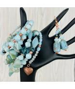 Sea Foam Aventurine Stone Wrap 6 Stack Bracelet Earring Set Copper Heart... - $49.49