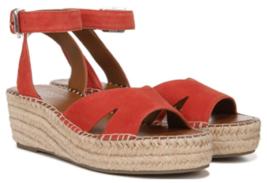 Franco Sarto Pellia Sz 7 M EU 37 Women's Suede Espadrille Wedge Sandals Tangelo - $38.56