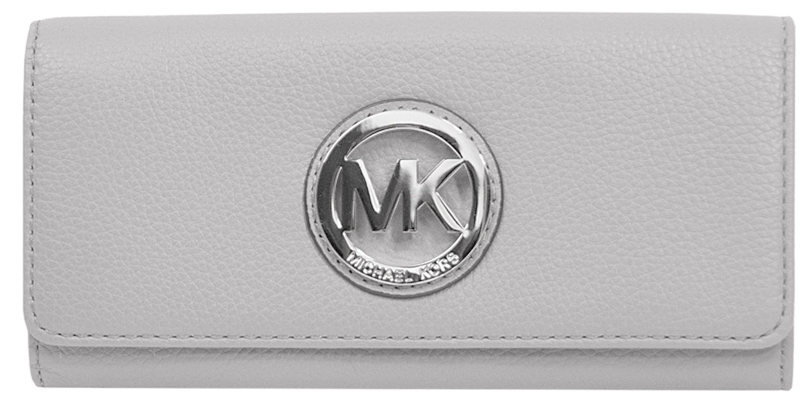 Primary image for Michael Kors Pearl Grey Pebbled Leather Fulton Carryall Wallet