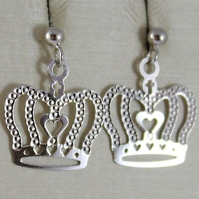 WHITE GOLD EARRINGS 750 18K, CROWN, QUEEN, HANGING, 2 CM, MADE IN ITALY