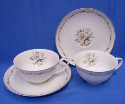 Diamond China Dishes Romance 2 Cups & 2 Saucers Plates Japan Flowers Pin... - $9.89