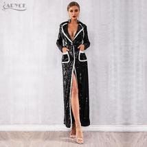 Black Sequin Deep V Long Sleeve Double Breasted Designer Trench Coat Maxi Dress image 2