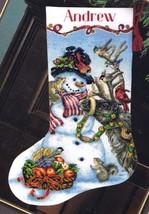 Dimensions Snowmen Gathering Deer Bird Christmas Cross Stitch Stocking Kit 08866 - $54.95