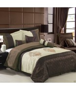7pc Brown Beige Pacifica Comforter Set with Pillows Bed Skirt AND Pillow... - $94.99