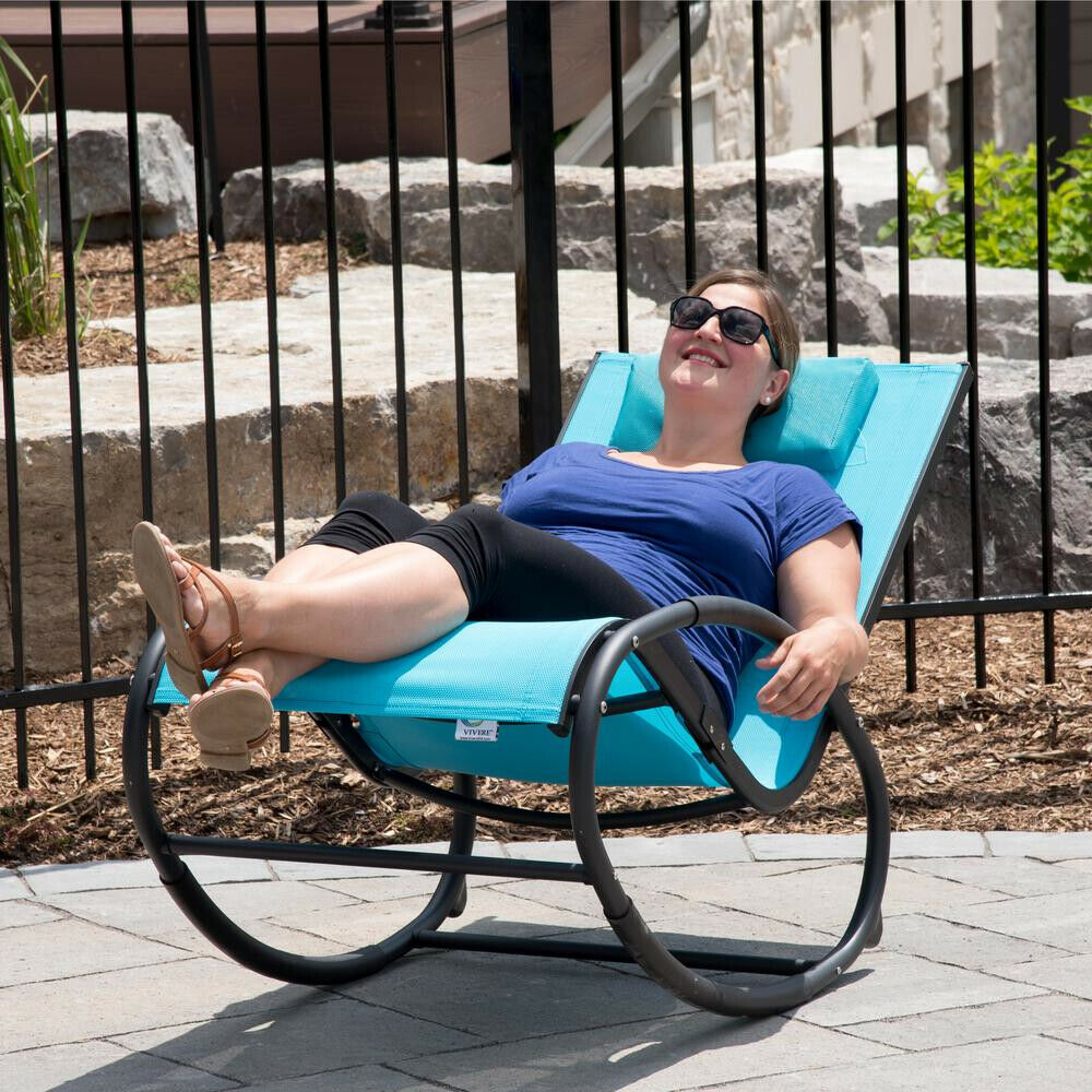 Vivere Rocking Chair 330 lb. Capacity Weather Rresistant Aluminum Ocean Blue