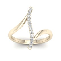 IGI Certified 10k Gold 0.15Ct TDW Diamond Curve Bypass Fashion Ring - $249.99