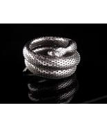 Whiting & Davis Snake Bracelet - Large silver 3 coils -  Vintage serpent... - $245.00