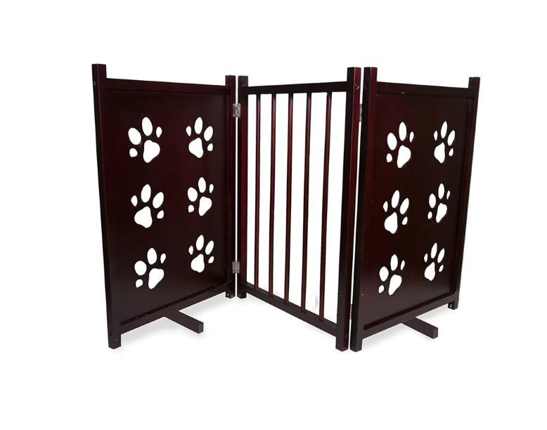 Folding Dog Gate Portable Expanding Wood Pet Fence Free Standing Small Animal