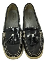 Sperry Top Sider TASSELFISH Black Patent Leather Houndstooth Boat Shoe S. 9M New - $59.96