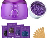 Yeelen Hair Removal Hot Wax Warmer Waxing Kit Wax Melts + 4 Flavors Hard Wax Bea