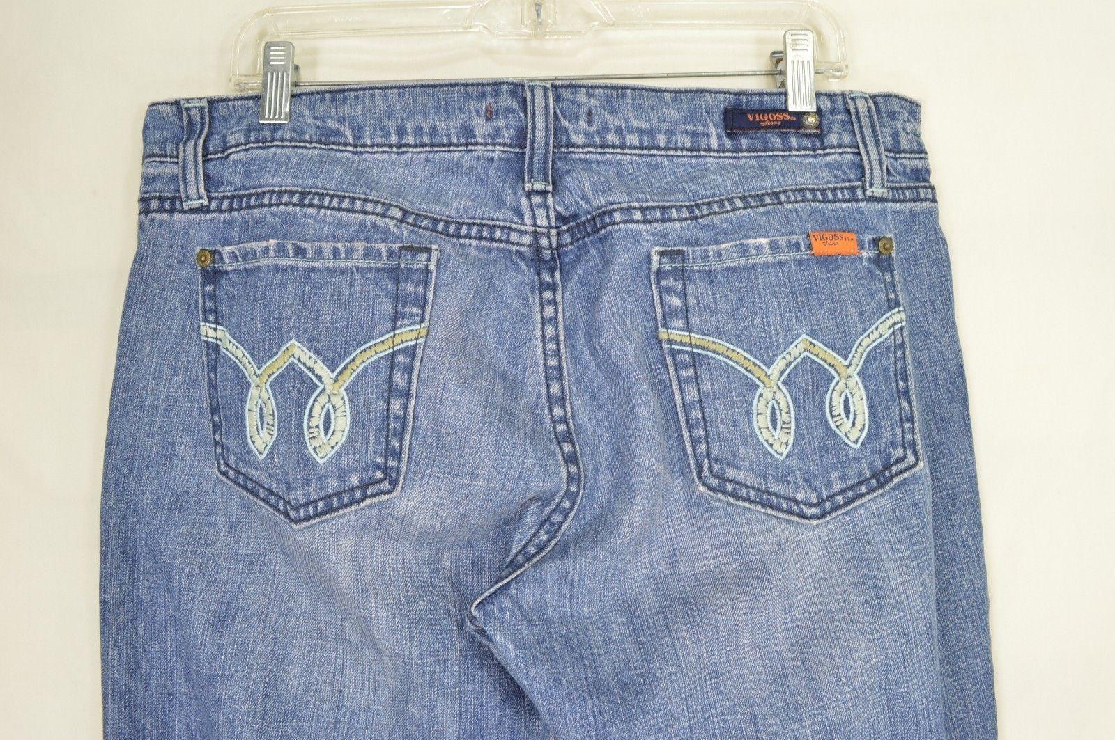 1 Vigoss jeans 15 x 35 medium wash long lean tall sexy embroidery back pockets