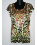 Energe World Wear Womens Embellished Green Shirt Top Size Small NEW - $22.99