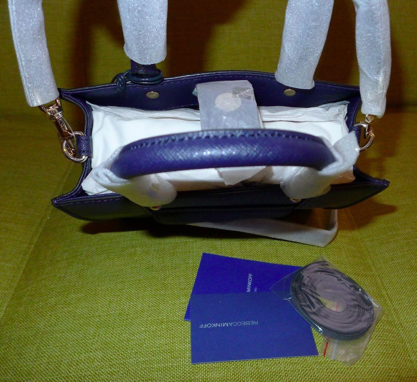 Rebecca Minkoff Mab Mini CrossBody Tote Satchel Leather Navy