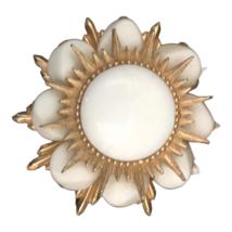 Vintage Gold Tone White Milk Glass Brooch Pin Pendant Starburst Unsigned - $24.74