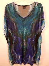 H&M Womens Dress Abstract Blue Sheer Short Sleeve Size XS R03 - $17.42