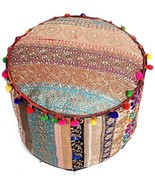 "18"" Indian Culture Kachchi Embroidered Ottoman Pouf Cover Black - 2 Vari... - $24.99"