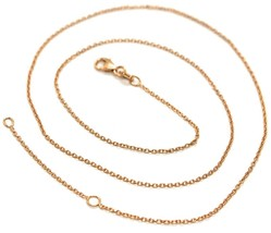 18K ROSE GOLD CHAIN, 1.0 MM ROLO ROUND CIRCLE LINK, 15.7 INCHES, MADE IN ITALY image 1