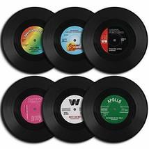 homEdge Vinyl Record Coasters, 6 Pieces of Retro Style Vinyl Coasters - $16.28