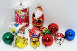12 Vintage Glass Christmas Ornaments Figurals & Rounds - $15.00