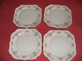 "4 Homer Laughlin Wedgwood 8"" Square Salad Plates Eggshell Georgian - $29.95"
