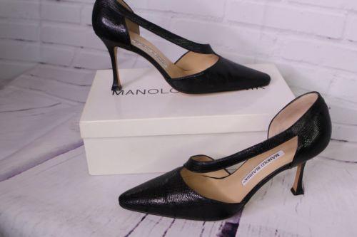 Vintage Manolo Blahnik Totila Black Italy Lizard Leather Pumps Shoe EU 37.5 US 7 - $371.24