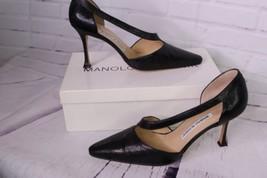 Vintage Manolo Blahnik Totila Black Italy Lizard Leather Pumps Shoe EU 3... - $371.24