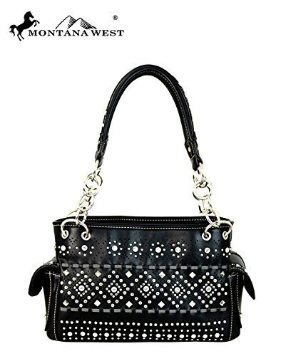 Bling Rhinestone Studded Chain Handle Bag Shoulder Purse (Black)