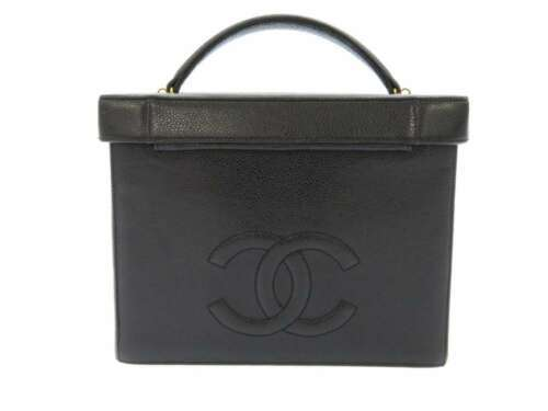 CHANEL Vanity Bag Caviar Leather Black 2Way Cosmetic Pouch CC A01999 Authentic