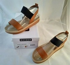 Bamboo Brand Women's Strap Sandals Tan Brown Leather US Size 8.5 - $14.99