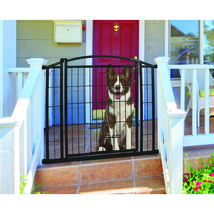 Carlson Pet Black Outdoor Walk-thru Gate With Small Pet Door 33.25x29-43... - $86.90