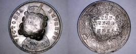 c.1900 French Somaliland Djibouti 1/2 Rupee Silver Coin c/s on Indian 1/... - $649.99