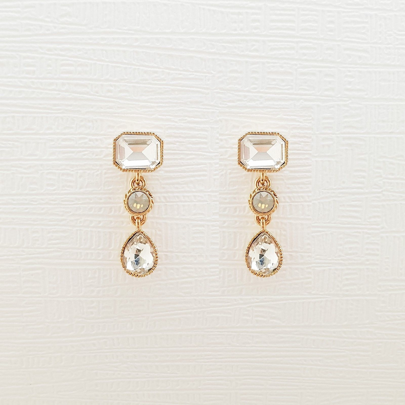 Rectangle Round Water Drop Made With Swarovski Stone Dangle Earrings 925 Silver  image 7