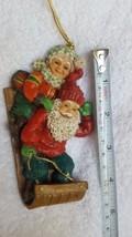 Christmas Ornament Santa & Mrs. Santa on Sleigh Xmas tree decoration pre-owned  - $14.03