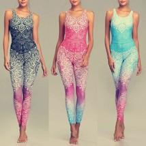 Women Yoga Set Mandala Print Quick Dry Breathable Fitness Sport Halter V... - $37.61