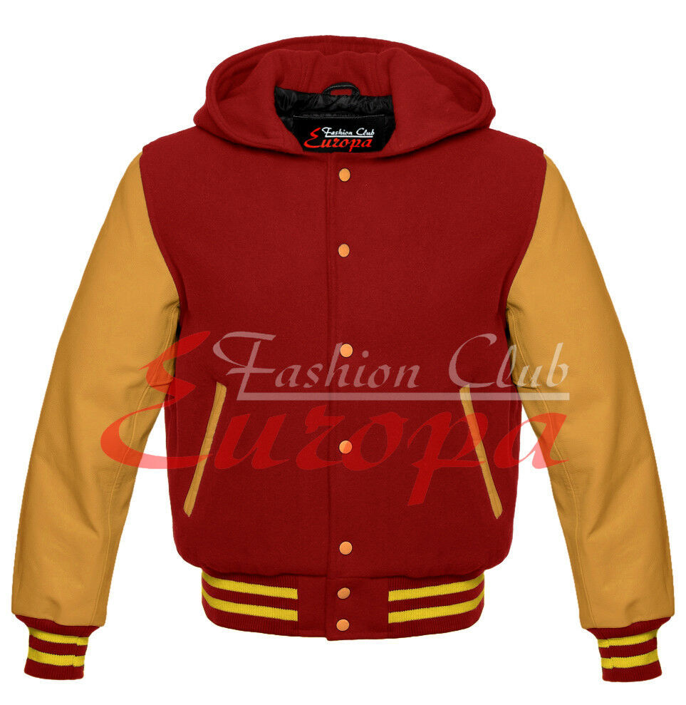 Primary image for Maroon Hoodie Varsity Letterman Wool Jacket with Real Leather Sleeves XS-4XL