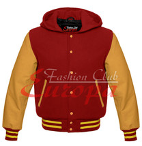 Maroon Hoodie Varsity Letterman Wool Jacket with Real Leather Sleeves XS... - $94.99