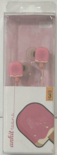 Ankit Toons Ergonomic Noise Isolating Stereo Earbuds Pink Ice Cream Pops