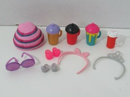 LOL Surprise doll cups striped pink hat tiara headband glasses shoes lot 18 - $14.84