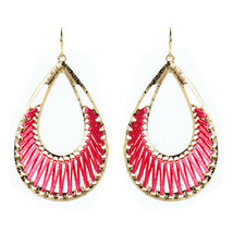 Amrita Singh Gold Pink Silk Crosby Street Dangle Earrings ERC 1509 NWT - $16.34