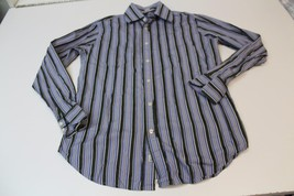 M4471 Mens Guess Blue/Purple/Gray Striped Button Up Shirt Dress Medium - $11.65