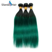 Silanda Hair 3 Bundles #1B/Dark Green Straight  Remy Human Hair Extensions Weft - $132.90+